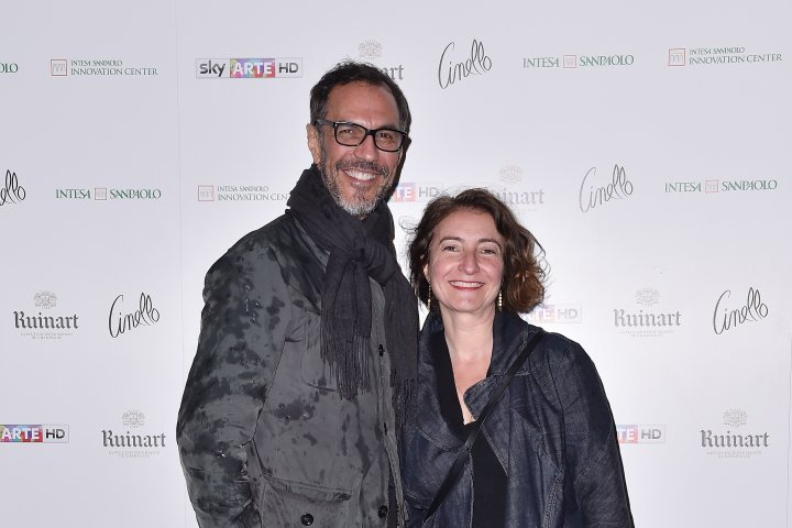 MILAN, ITALY - APRIL 11:  (R-L) Marialaura Rossiello Irvine and Angelo Ferrara attend Save The Artistic Heritage - Vernissage Cocktail on April 11, 2018 in Milan, Italy.
