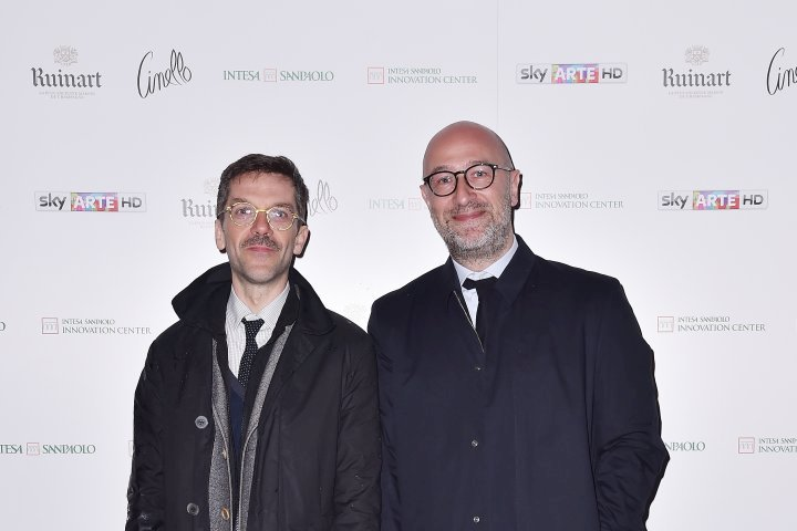 MILAN, ITALY - APRIL 11:  Germano D'Acquisto and Marco Enrico Giamcomelli attend Save The Artistic Heritage - Vernissage Cocktail on April 11, 2018 in Milan, Italy.