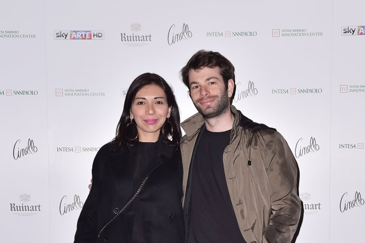 MILAN, ITALY - APRIL 11:  Francesca Pagliuca and Lorenzo Grossi attend Save The Artistic Heritage - Vernissage Cocktail on April 11, 2018 in Milan, Italy.