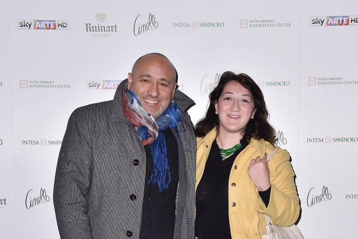 MILAN, ITALY - APRIL 11:  Deodato Salafia and Mariella Casile attend Save The Artistic Heritage - Vernissage Cocktail on April 11, 2018 in Milan, Italy.