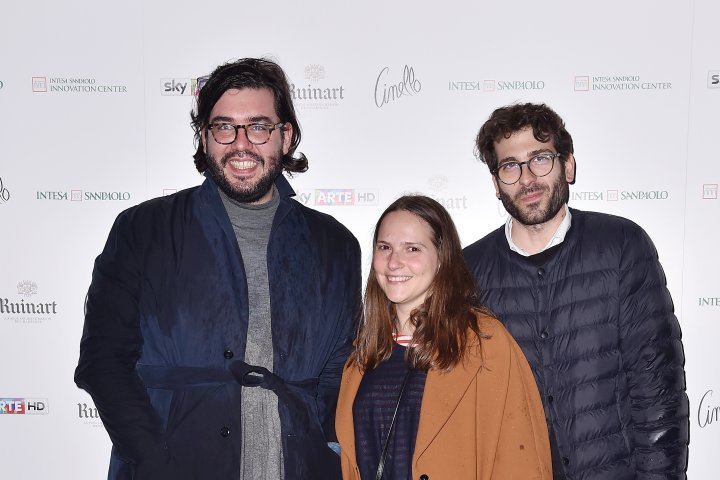 MILAN, ITALY - APRIL 11:  Alberto Zenere, Gloria De Risi and Alessio Baldister attend Save The Artistic Heritage - Vernissage Cocktail on April 11, 2018 in Milan, Italy.  (Photo by Jacopo Raule/Getty Images for Cinello) *** Local Caption *** Alberto Zenere;Gloria De Risi;Alessio Baldister