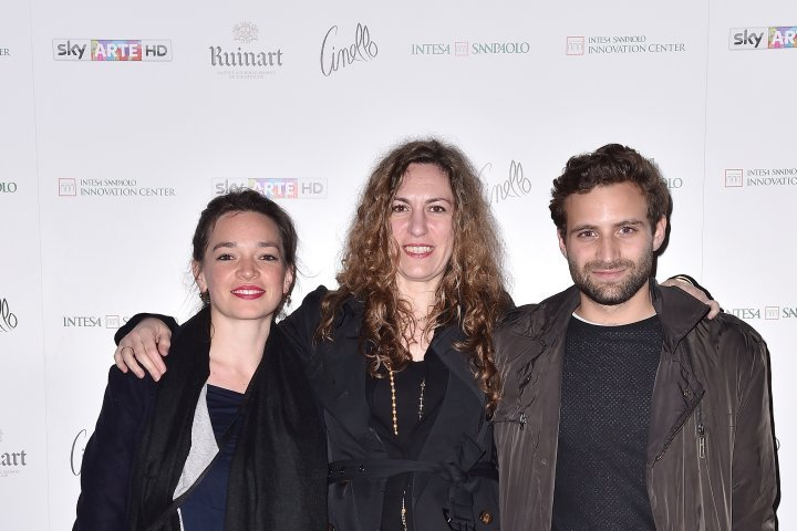 MILAN, ITALY - APRIL 11:  Giulia De Giorgi, Luca Mazza and Norma Mangione attend Save The Artistic Heritage - Vernissage Cocktail on April 11, 2018 in Milan, Italy.