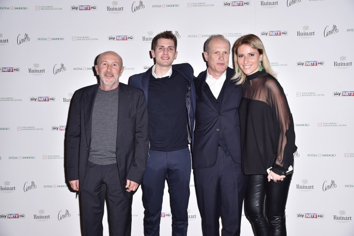 MILAN, ITALY - APRIL 11:  Patrizio Losi, Franco Losi, Federica Pesce and a guest attend Save The Artistic Heritage - Vernissage Cocktail on April 11, 2018 in Milan, Italy.