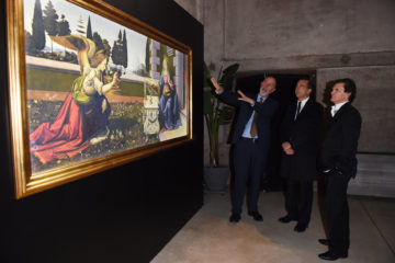 MILAN, ITALY - APRIL 11:  Carlo Francini, Giuseppe Sala and Mario Cristiani attend Save The Artistic Heritage - Vernissage Cocktail on April 11, 2018 in Milan, Italy.