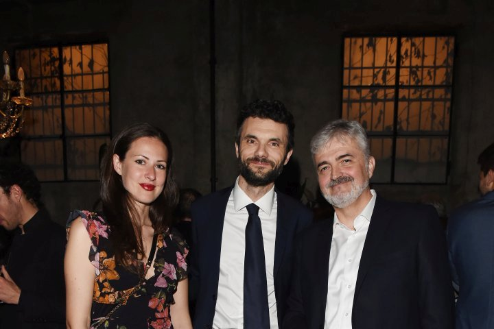 MILAN, ITALY - APRIL 11:  Luca Renzi, Biffoni Matteo and a guest attend Save The Artistic Heritage - Vernissage Cocktail on April 11, 2018 in Milan, Italy.