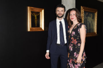 MILAN, ITALY - APRIL 11:  Biffoni Matteo and a guest attend Save The Artistic Heritage - Vernissage Cocktail on April 11, 2018 in Milan, Italy.
