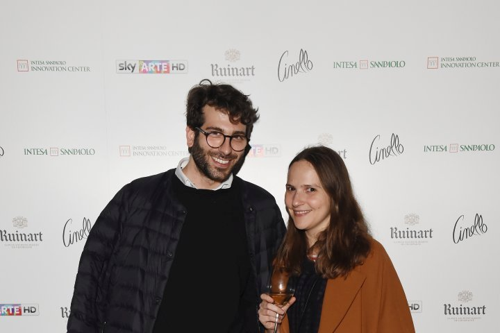 MILAN, ITALY - APRIL 11:  Gloria De Risi and Alessio Baldister attend Save The Artistic Heritage - Vernissage Cocktail on April 11, 2018 in Milan, Italy.