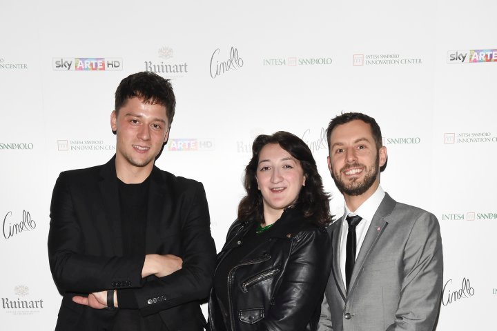 MILAN, ITALY - APRIL 11:  (L-R) Luca Dalla Valle, Greg and a guest attend Save The Artistic Heritage - Vernissage Cocktail on April 11, 2018 in Milan, Italy.