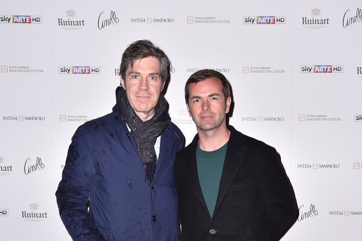 MILAN, ITALY - APRIL 11:  Diego Bergamaschi and a guest attend Save The Artistic Heritage - Vernissage Cocktail on April 11, 2018 in Milan, Italy.