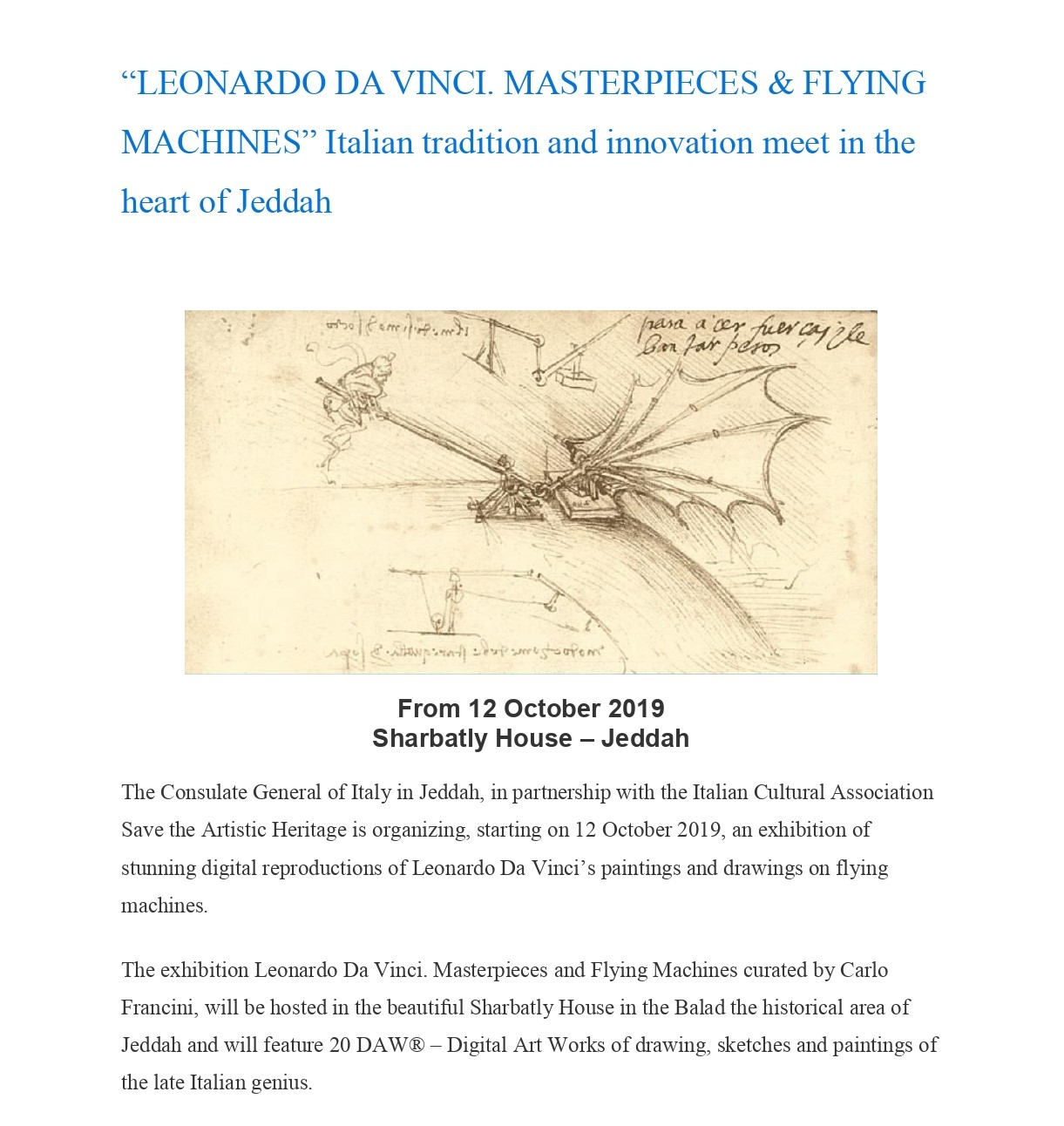 """LEONARDO DA VINCI. MASTERPIECES & FLYING MACHINES"" Italian tradition and innovation meet in the heart of Jeddah"