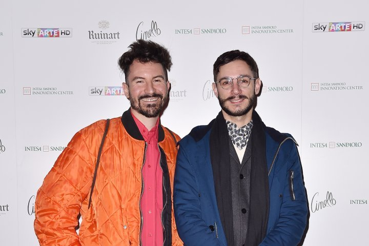 MILAN, ITALY - APRIL 11:  Matteo Bergamini and Mattia Solari attend Save The Artistic Heritage - Vernissage Cocktail on April 11, 2018 in Milan, Italy.
