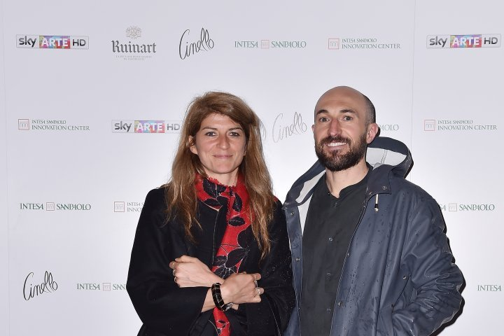 MILAN, ITALY - APRIL 11:  (R-L) Paolo Metaldi and Cristina Moro attend Save The Artistic Heritage - Vernissage Cocktail on April 11, 2018 in Milan, Italy.