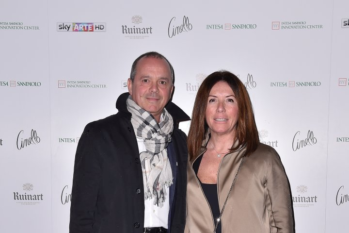 MILAN, ITALY - APRIL 11:  Beone Francesco and Lorenza Tagliaferri attend Save The Artistic Heritage - Vernissage Cocktail on April 11, 2018 in Milan, Italy.