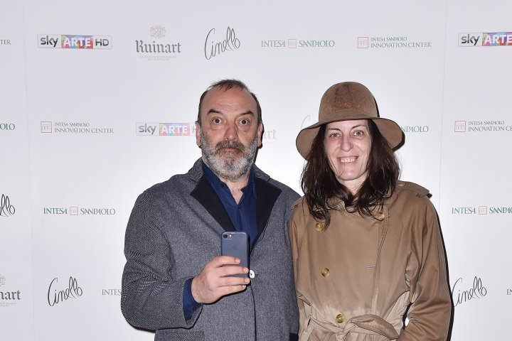 MILAN, ITALY - APRIL 11:  Romano Gianni and Varinia Poggiagliolmi attends Save The Artistic Heritage - Vernissage Cocktail on April 11, 2018 in Milan, Italy.