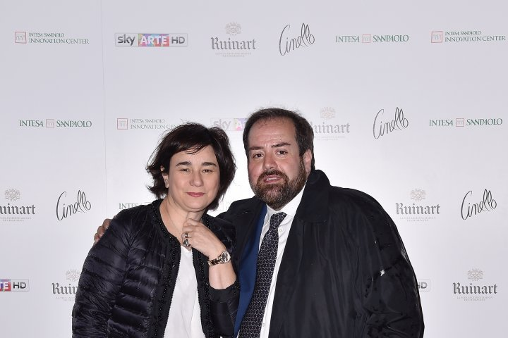 MILAN, ITALY - APRIL 11:  Aldo Colella and Sonia Sacco attend Save The Artistic Heritage - Vernissage Cocktail on April 11, 2018 in Milan, Italy.