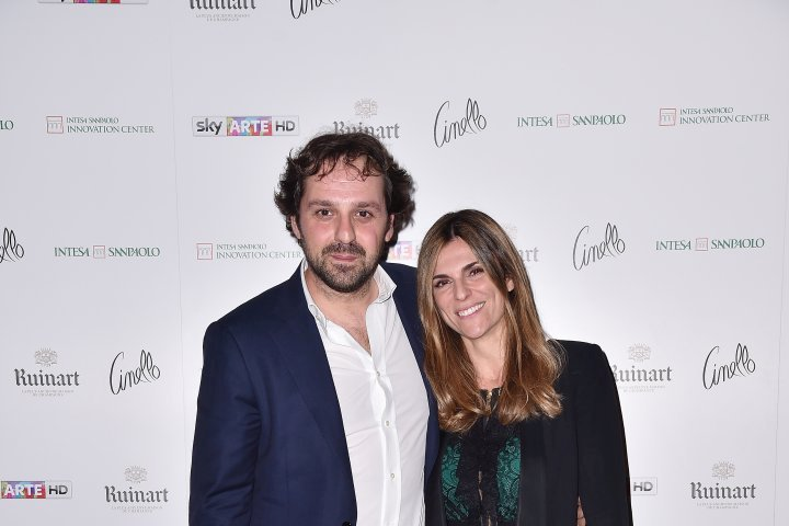 MILAN, ITALY - APRIL 11:  Margherita Domenegotti and Giorgio Innocenti attend Save The Artistic Heritage - Vernissage Cocktail on April 11, 2018 in Milan, Italy.