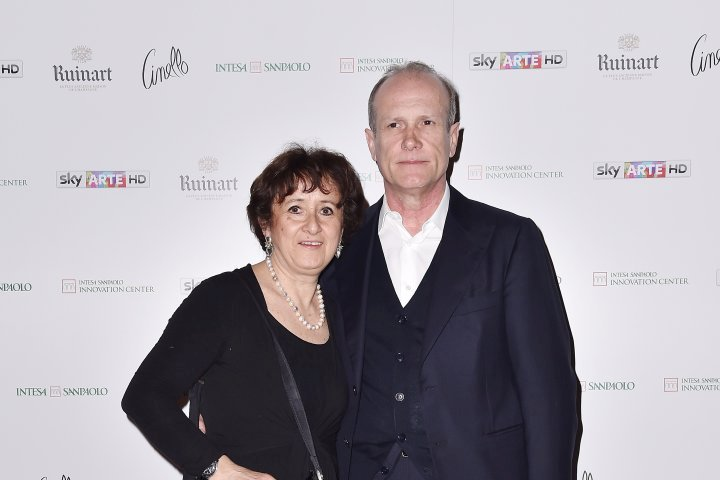 MILAN, ITALY - APRIL 11:  Luciana Albasi and Franco Losi attend Save The Artistic Heritage - Vernissage Cocktail on April 11, 2018 in Milan, Italy.