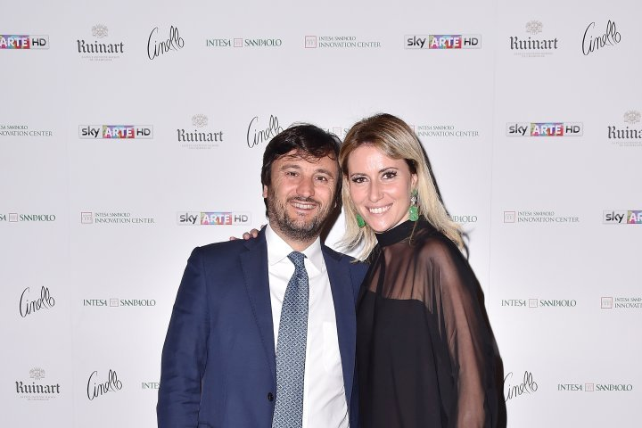MILAN, ITALY - APRIL 11:  Alberto Losacco and  Federica Pesce attend Save The Artistic Heritage - Vernissage Cocktail on April 11, 2018 in Milan, Italy.