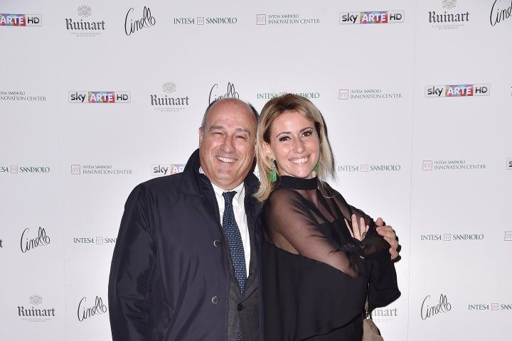 MILAN, ITALY - APRIL 11:  Federica Pesce and a guest attend Save The Artistic Heritage - Vernissage Cocktail on April 11, 2018 in Milan, Italy.