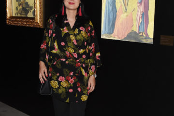 MILAN, ITALY - APRIL 11:  Guest attends Save The Artistic Heritage - Vernissage Cocktail on April 11, 2018 in Milan, Italy.