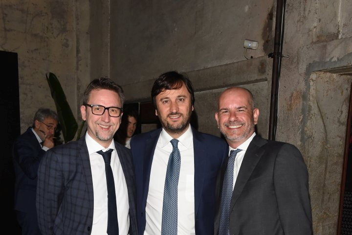MILAN, ITALY - APRIL 11:  Alberto Losacco and guest attend Save The Artistic Heritage - Vernissage Cocktail on April 11, 2018 in Milan, Italy.