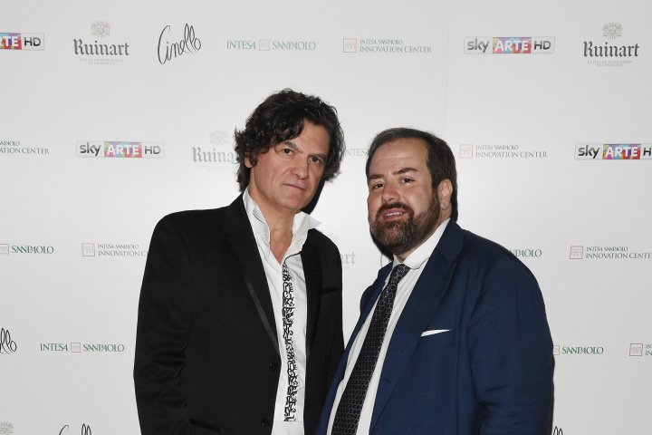 MILAN, ITALY - APRIL 11:  Mario Cristiani and Aldo Colella attend Save The Artistic Heritage - Vernissage Cocktail on April 11, 2018 in Milan, Italy.