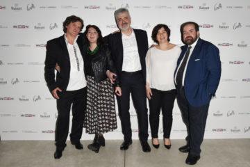 MILAN, ITALY - APRIL 11:  Mario Cristiani, Mariella Casile, Luca Renzi, Sonia Sacco and Aldo Colella attend Save The Artistic Heritage - Vernissage Cocktail on April 11, 2018 in Milan, Italy.