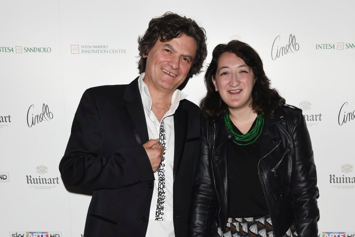 MILAN, ITALY - APRIL 11:  Mario Cristiani and Mariella Casile attend Save The Artistic Heritage - Vernissage Cocktail on April 11, 2018 in Milan, Italy.