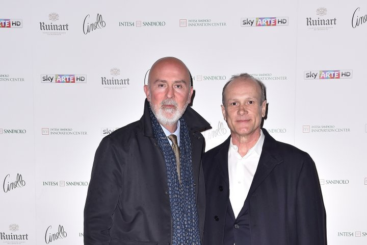 MILAN, ITALY - APRIL 11:  (L-R) Carlo Francini and Franco Losi attend Save The Artistic Heritage - Vernissage Cocktail on April 11, 2018 in Milan, Italy.