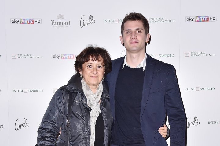 MILAN, ITALY - APRIL 11:  Umberto Losi and Luciana Albasi attend Save The Artistic Heritage - Vernissage Cocktail on April 11, 2018 in Milan, Italy.